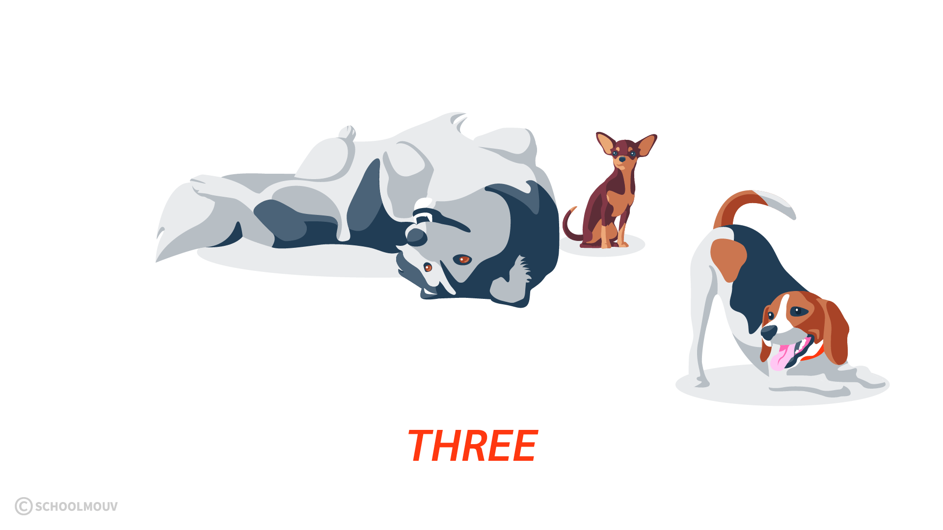 three trois nombres compter anglais