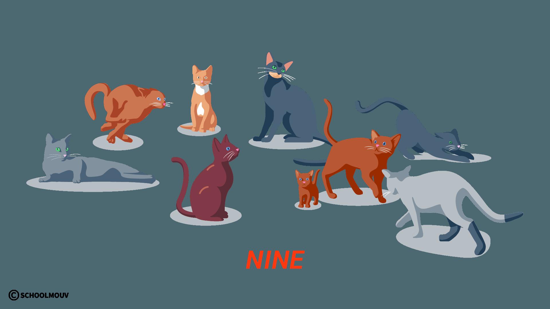 nine neuf nombres compter anglais