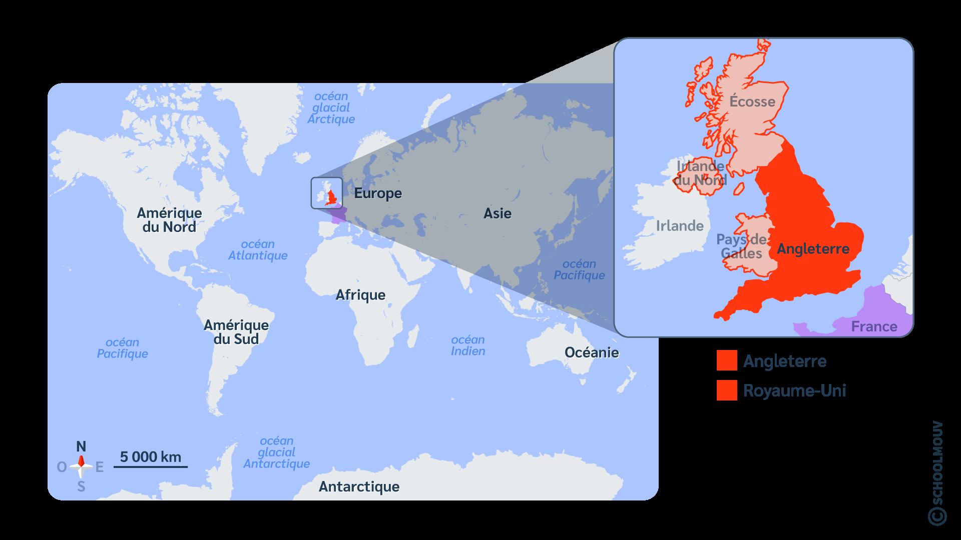 Angleterre carte Royaume-Uni monde anglais
