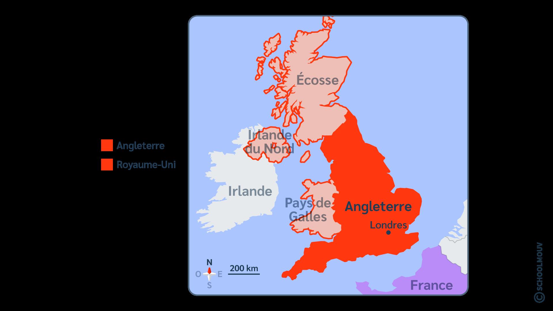 Angleterre carte Royaume-Uni Londres capitale anglais