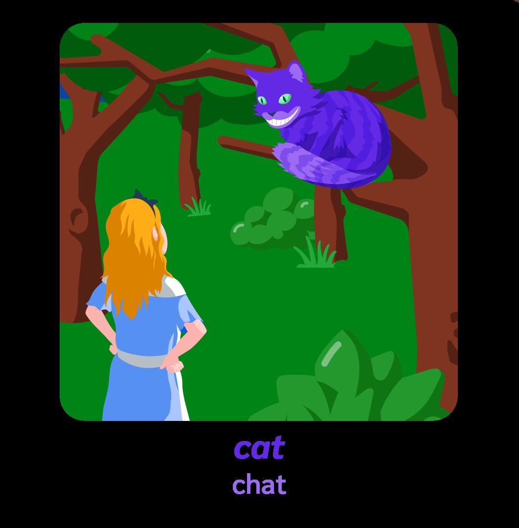 Alice pays des merveilles wonderland anglais chat cat