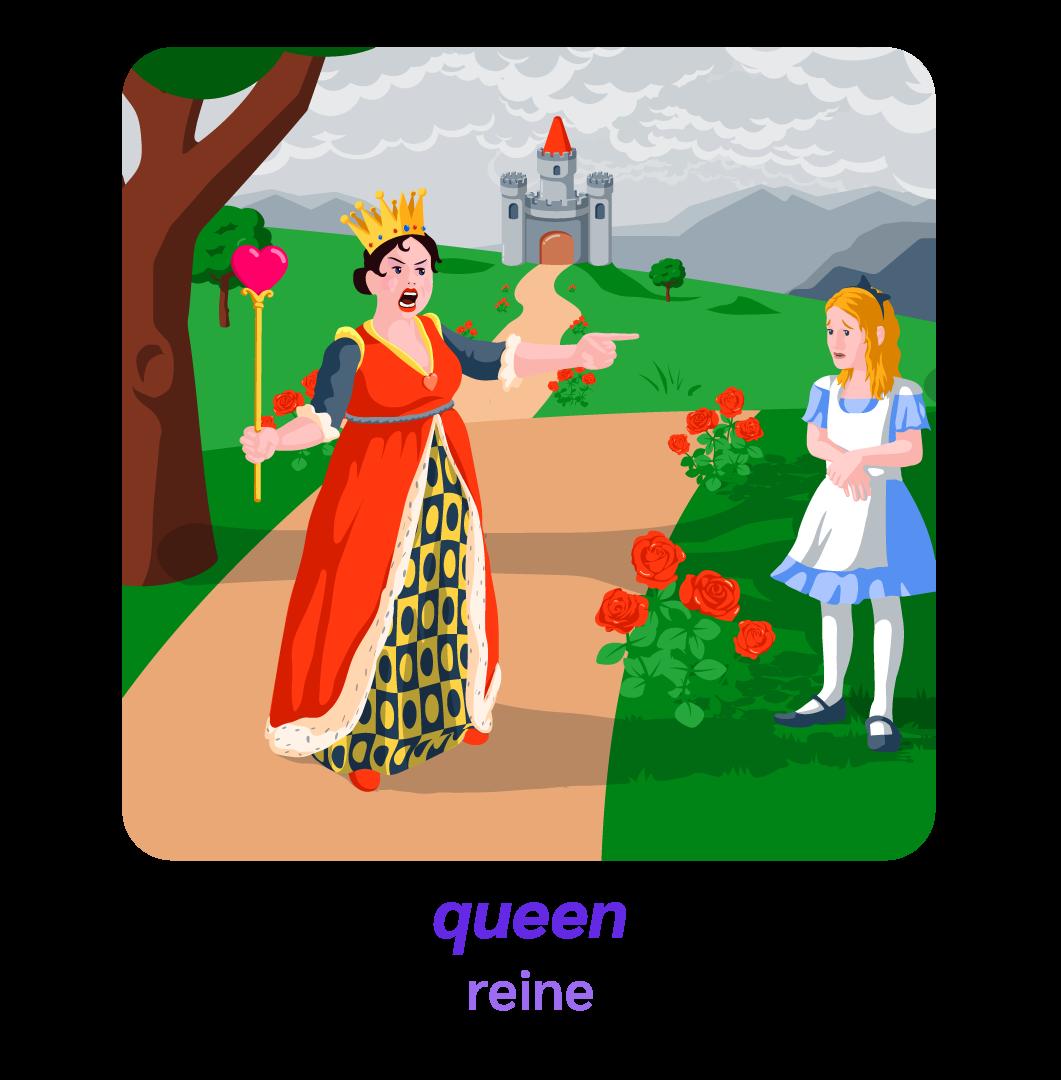 Alice pays des merveilles wonderland anglais queen reine