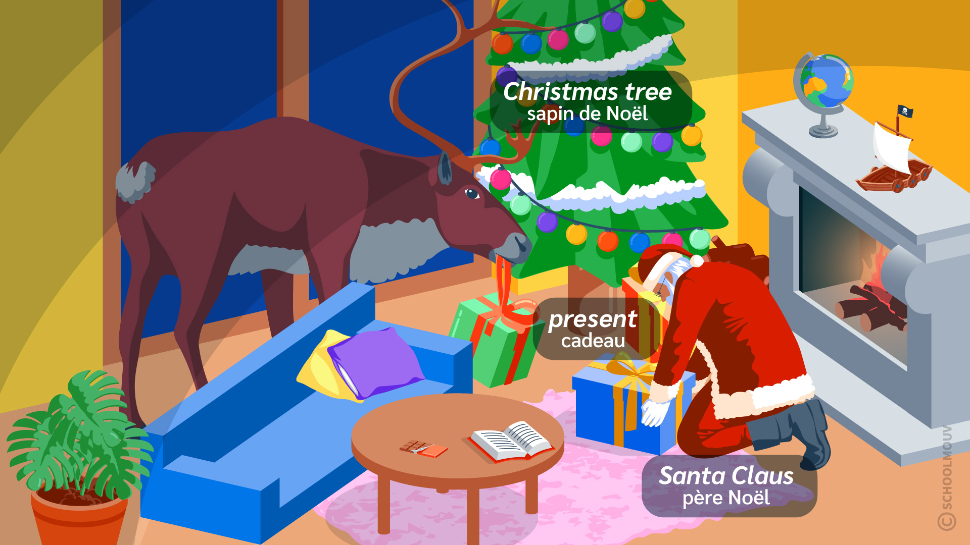 père Noël Santa Claus Christmas tree sapin cadeau anglais