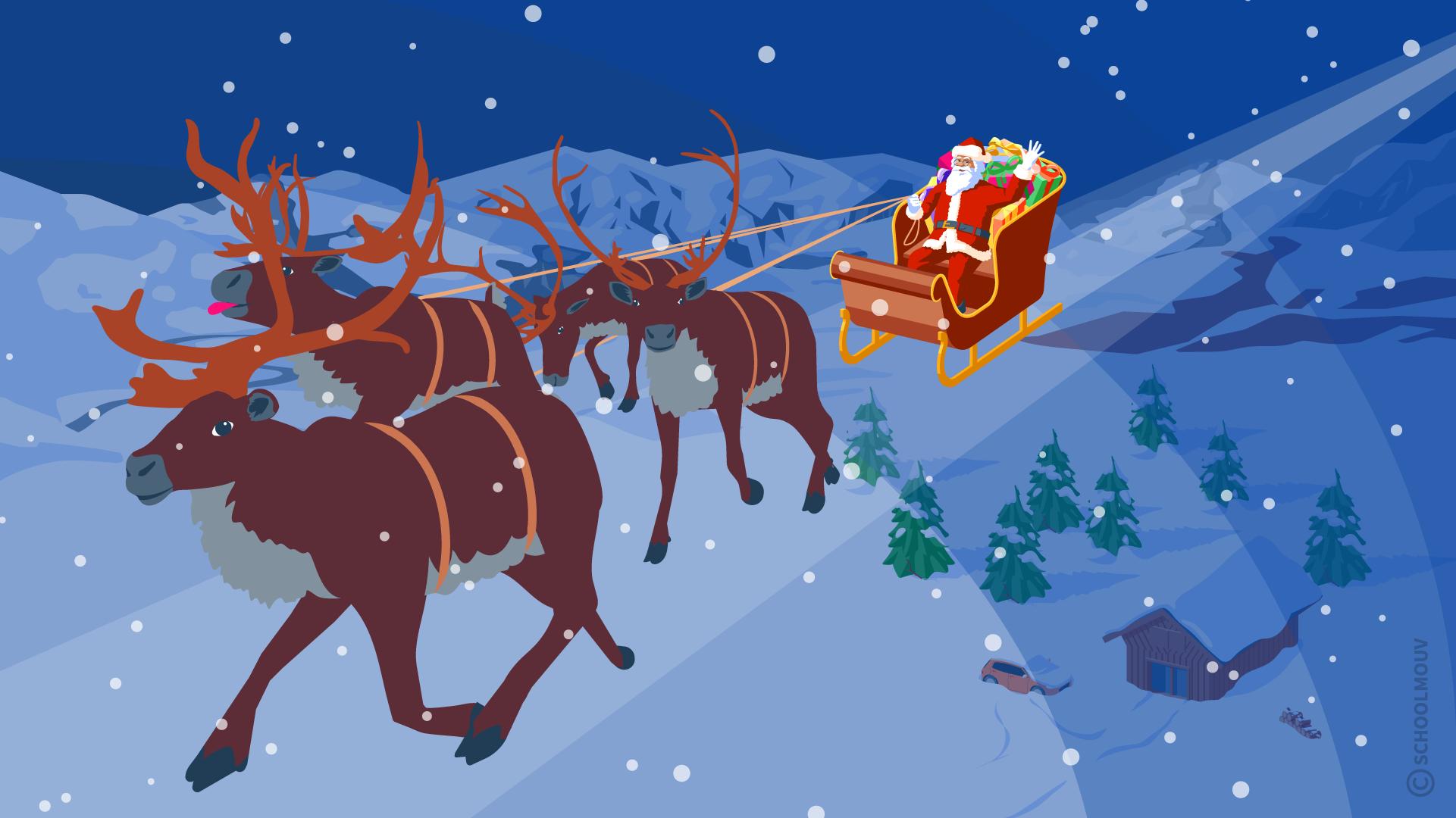 joyeux Noël merry Christmas traineau renne anglais