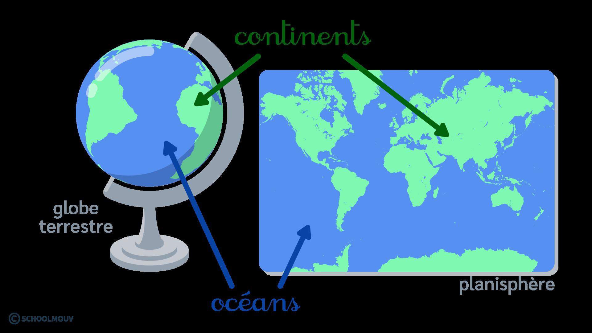 questionner le monde géographie CP se repérer sur Terre globe terrestre planisphère continents océans