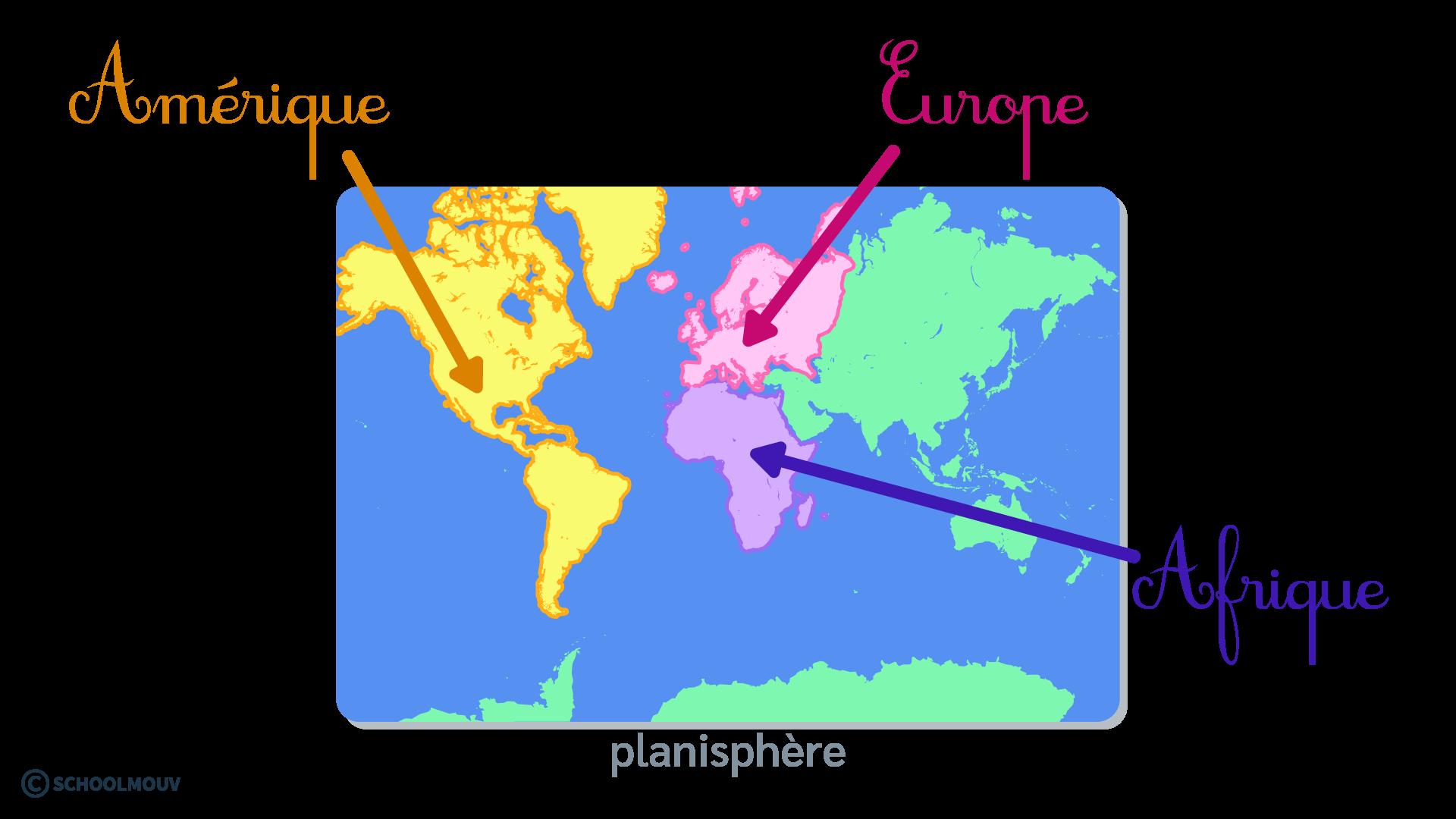 questionner le monde géographie CP se repérer sur Terre globe terrestre planisphère Amérique Europe Afrique