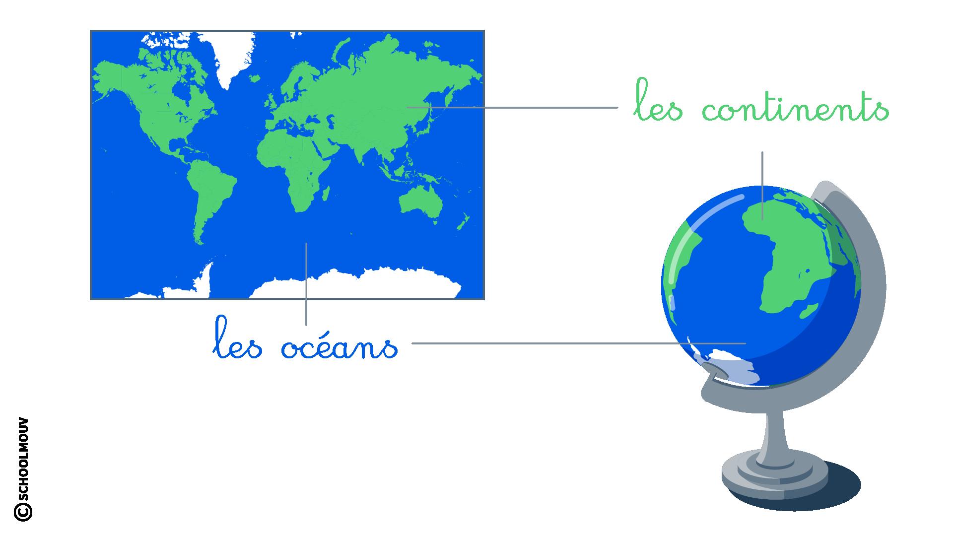 primaire questionner le monde cp les représentation de la Terre planisphère globe terrestre océans continents