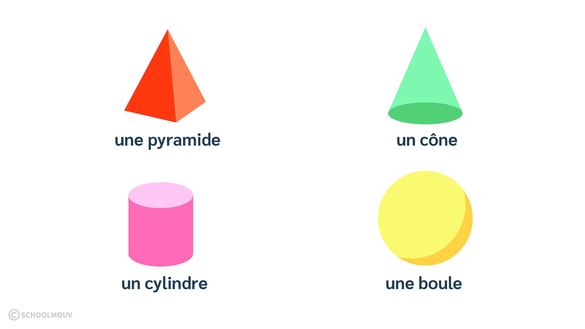 Mathématiques primaire CP espace géométrie reconnaître nommer solides boule cône, pyramide cylindre