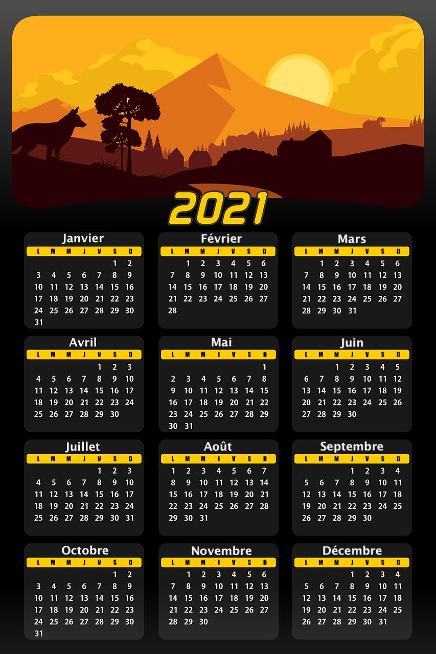 calendrier année mois jours