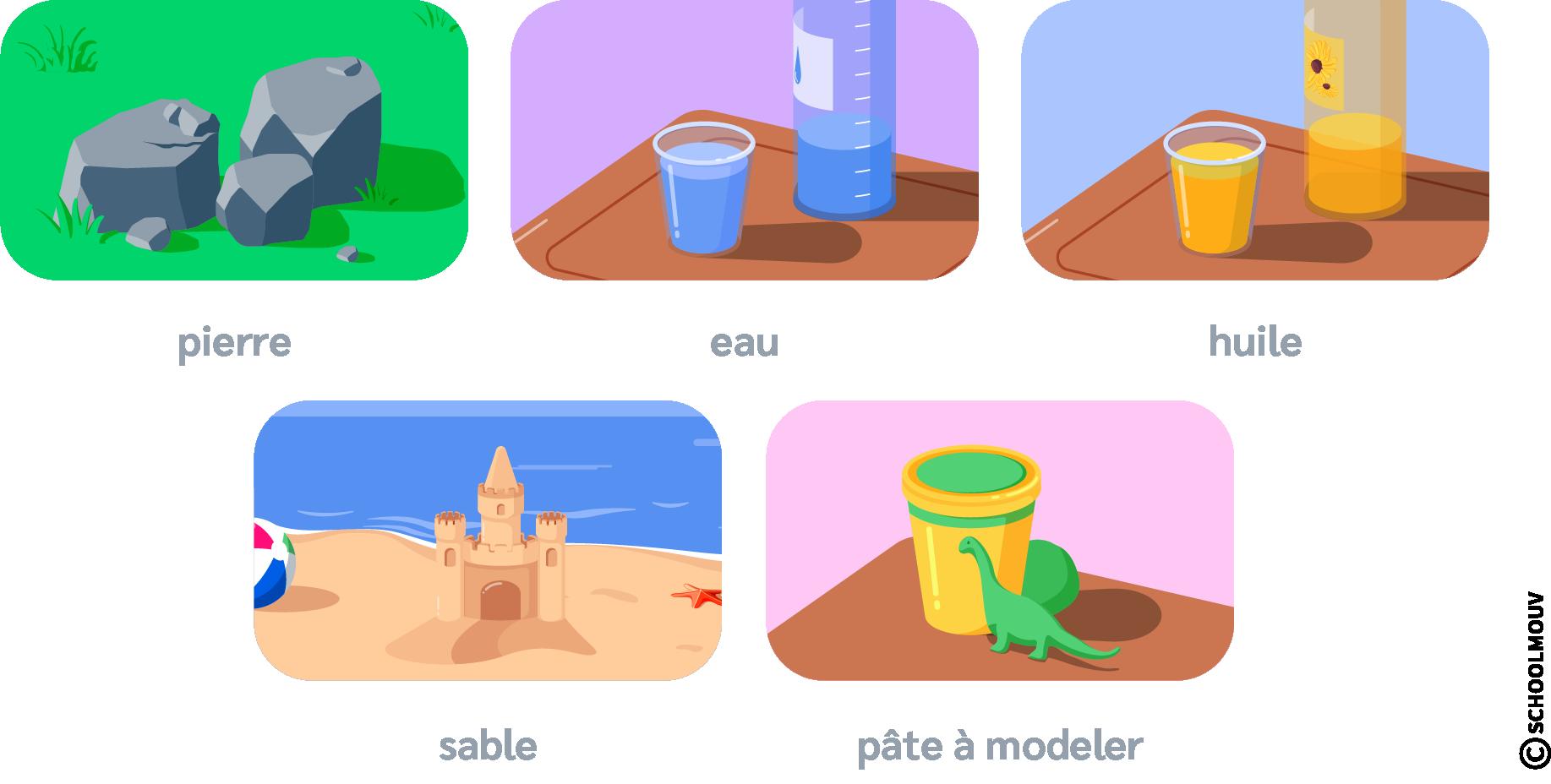 Solides - Liquides - Pierre - Eau - Huile - Sable - Pâte à modeler - SchoolMouv - Sciences - CP