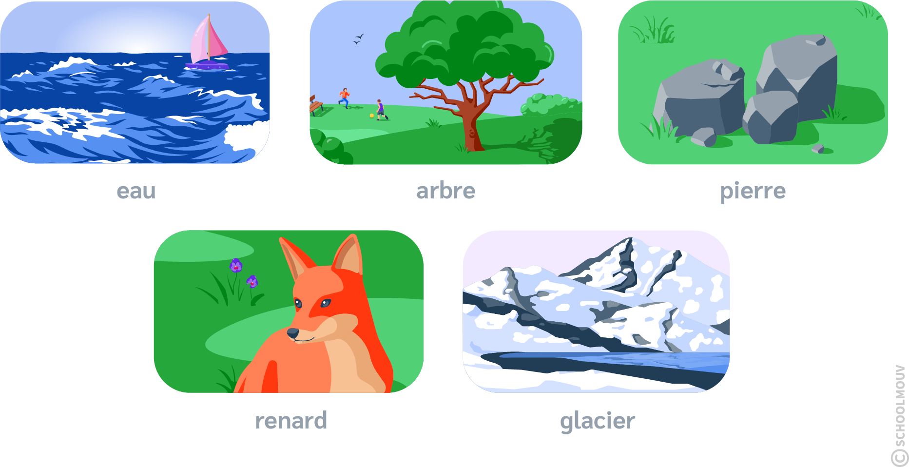 Eau - Arbre - Pierre - Renard - Glacier - SchoolMouv - Sciences - CP