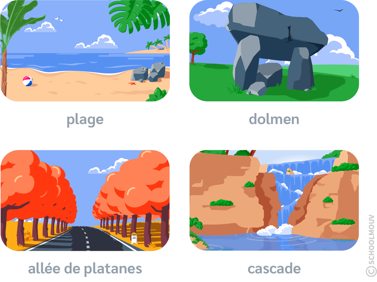 Plage - Dolmen - Platanes - Allée - Cascade