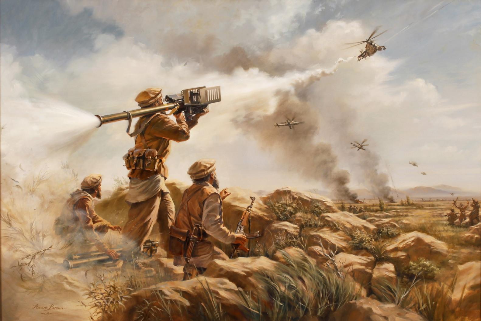 Des moudjahidin abattent un hélicoptère soviétique en Afghanistan avec un lance missile américain Stinger - Histoire - Terminale - SchoolMouv