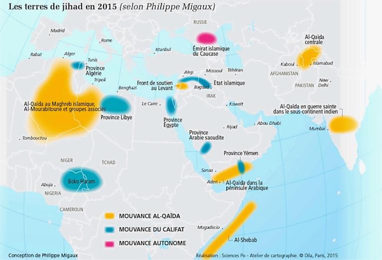 Carte - Jihad - Terrorisme - Zone d'influence - SchoolMouv - Baccalauréat - Sujet zéro - Géopolitique - Annale