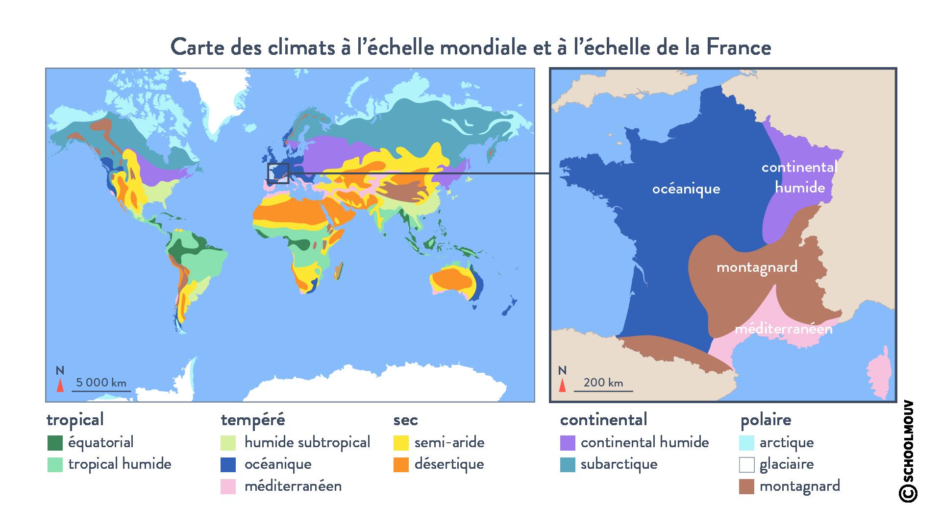 climats à l'échelle mondiale et à l'échelle régionale France