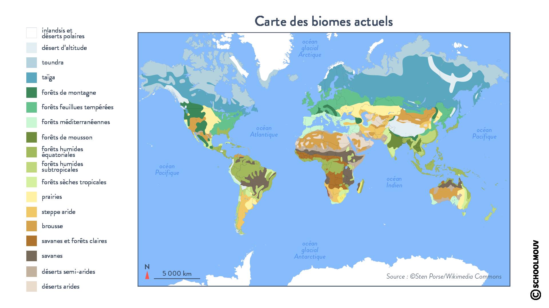 cartes biomes végétation climat