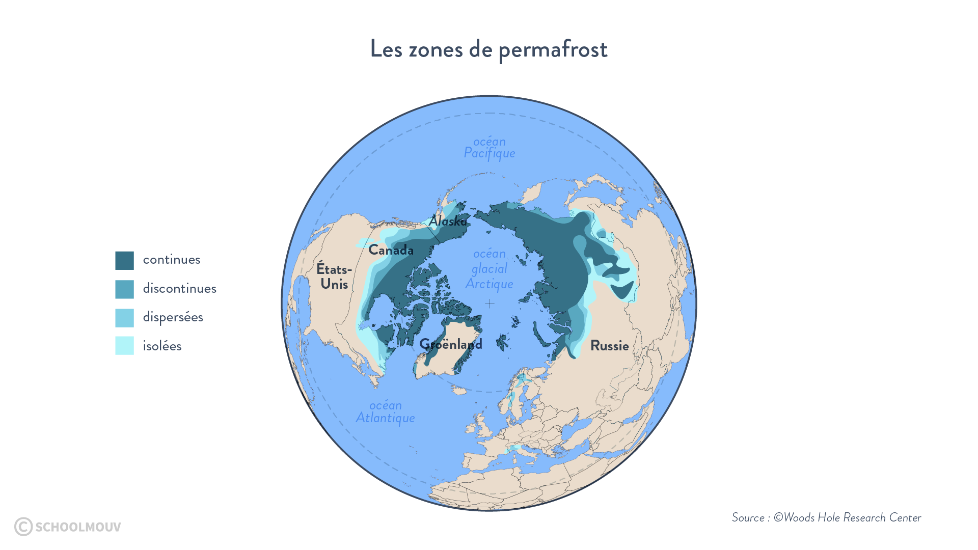 Carte du permafrost de l'hémisphère nord
