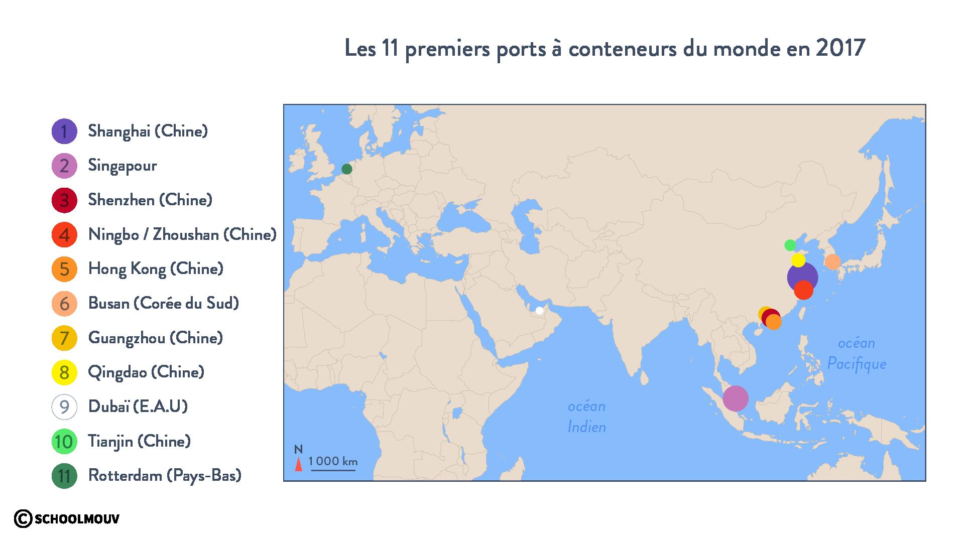 Les 11 premiers ports à conteneurs du monde en 2017 - géographie - terminale - SchoolMouv