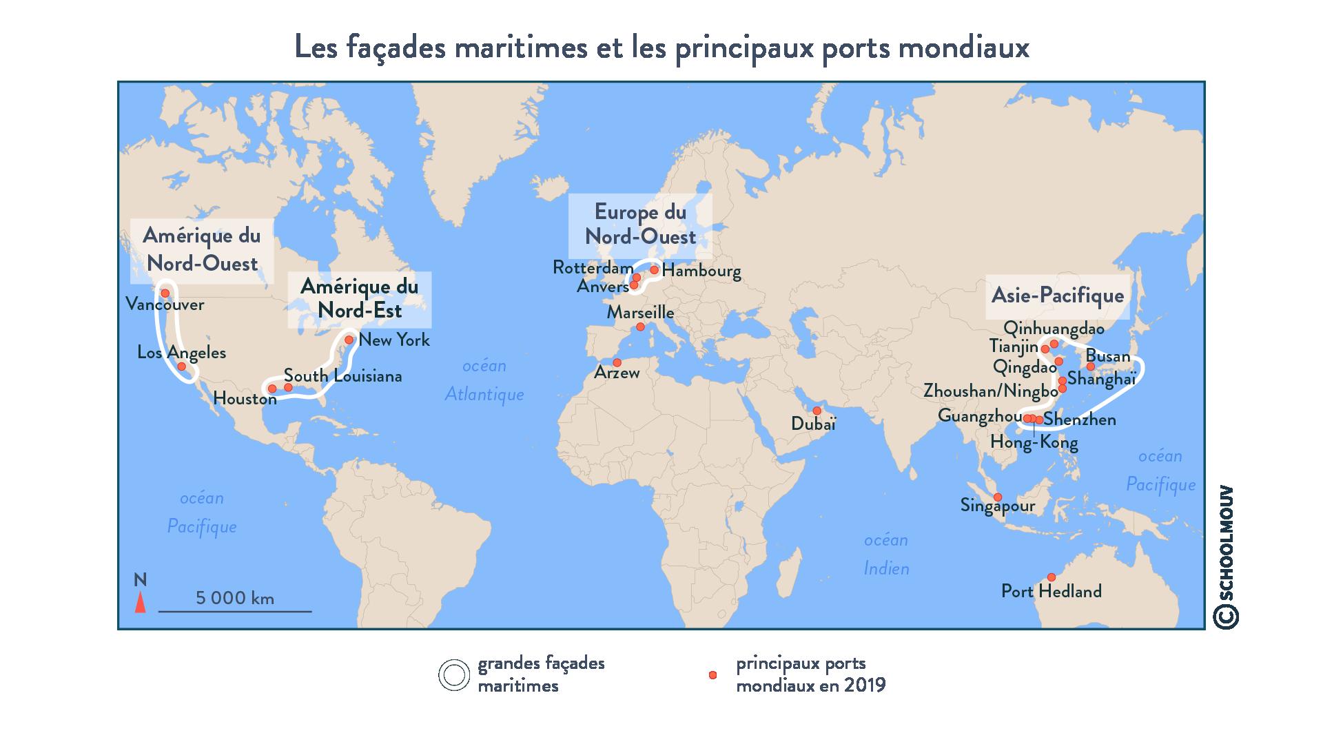 Les façades maritimes et les principaux ports mondiaux - géographie - terminale - SchoolMouv