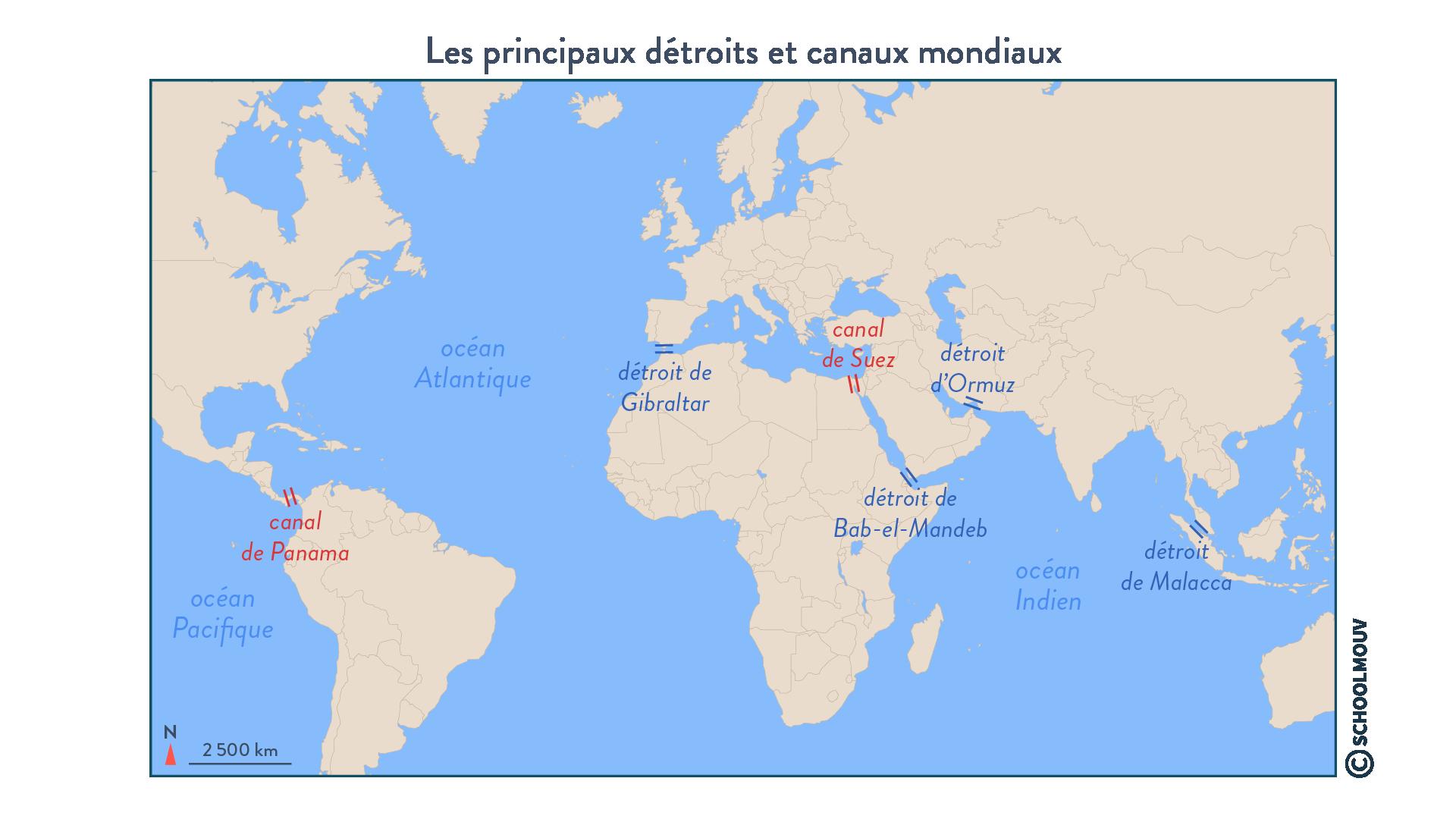 Les principaux détroits et canaux mondiaux - géographie - terminale - SchoolMouv