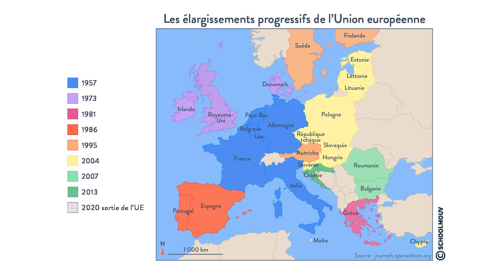 Les élargissements progressifs de l'Union européenne - Géographie - Terminale - SchoolMouv