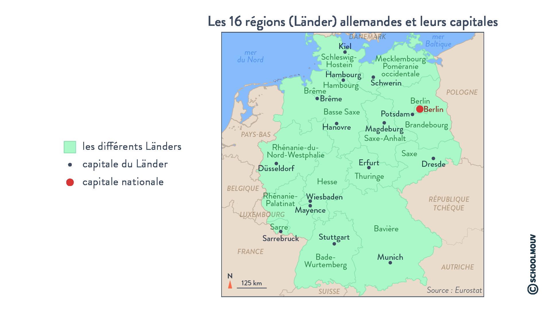 Les 16 régions (Länder) allemandes et leurs capitales - Géographie - Terminale - SchoolMouv