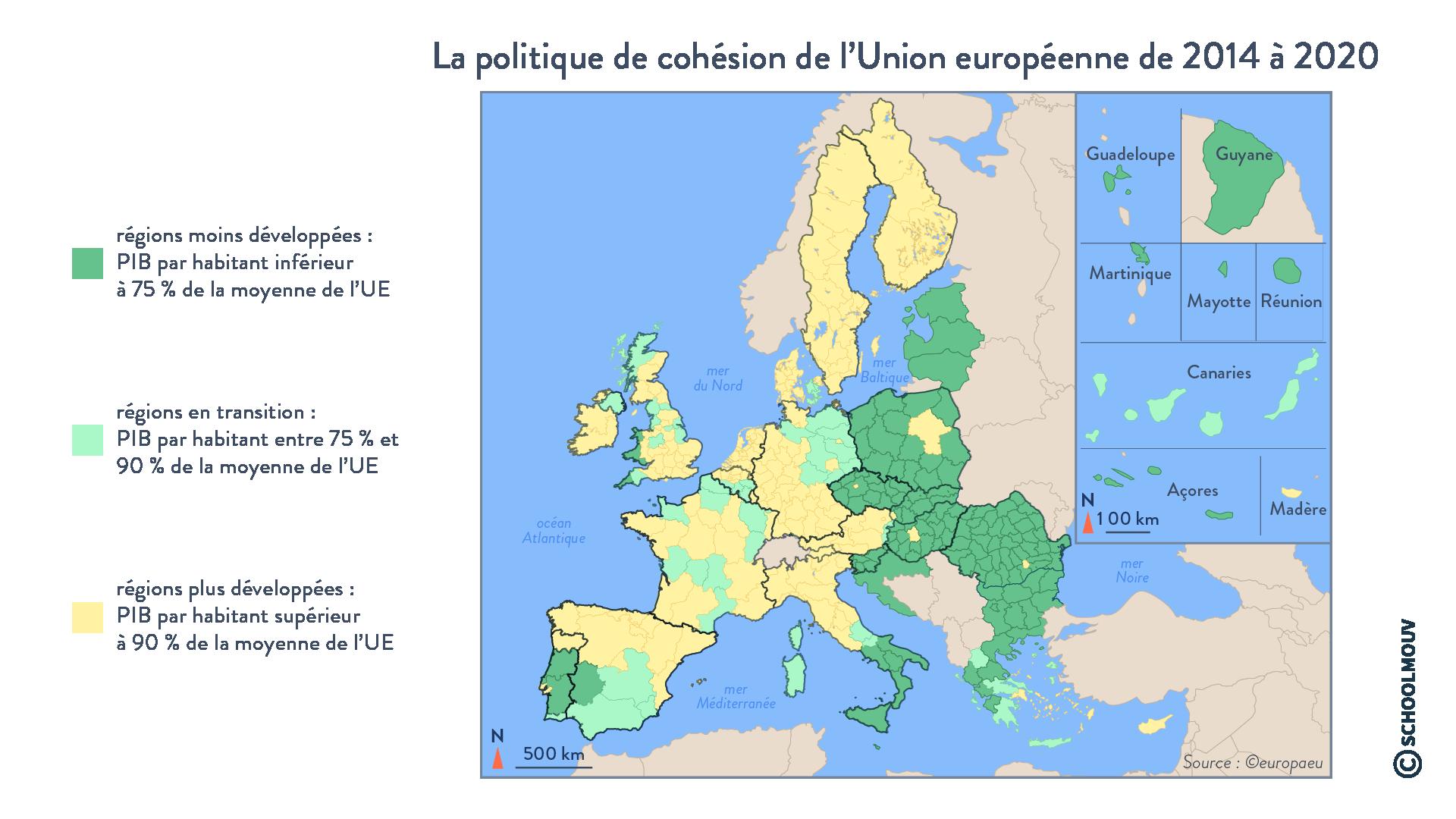 La politique de cohésion de l'Union européenne de 2014 à 2020 - Géographie - Terminale - SchoolMouv