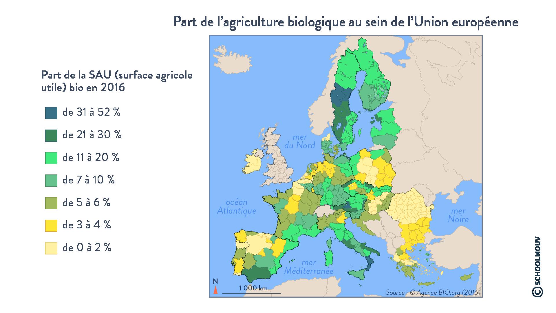 Part de l'agriculture biologique au sein de l'Union européenne - Géographie - Terminale - SchoolMouv