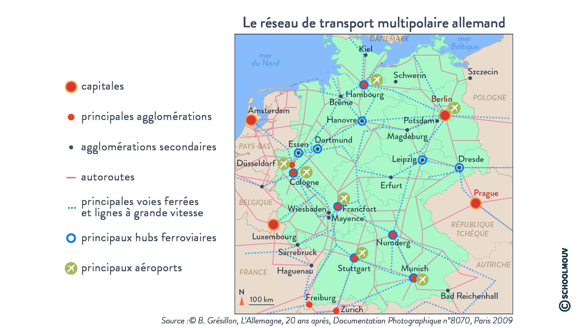 Le réseau de transport multipolaire allemand - Géographie - Terminale - SchoolMouv