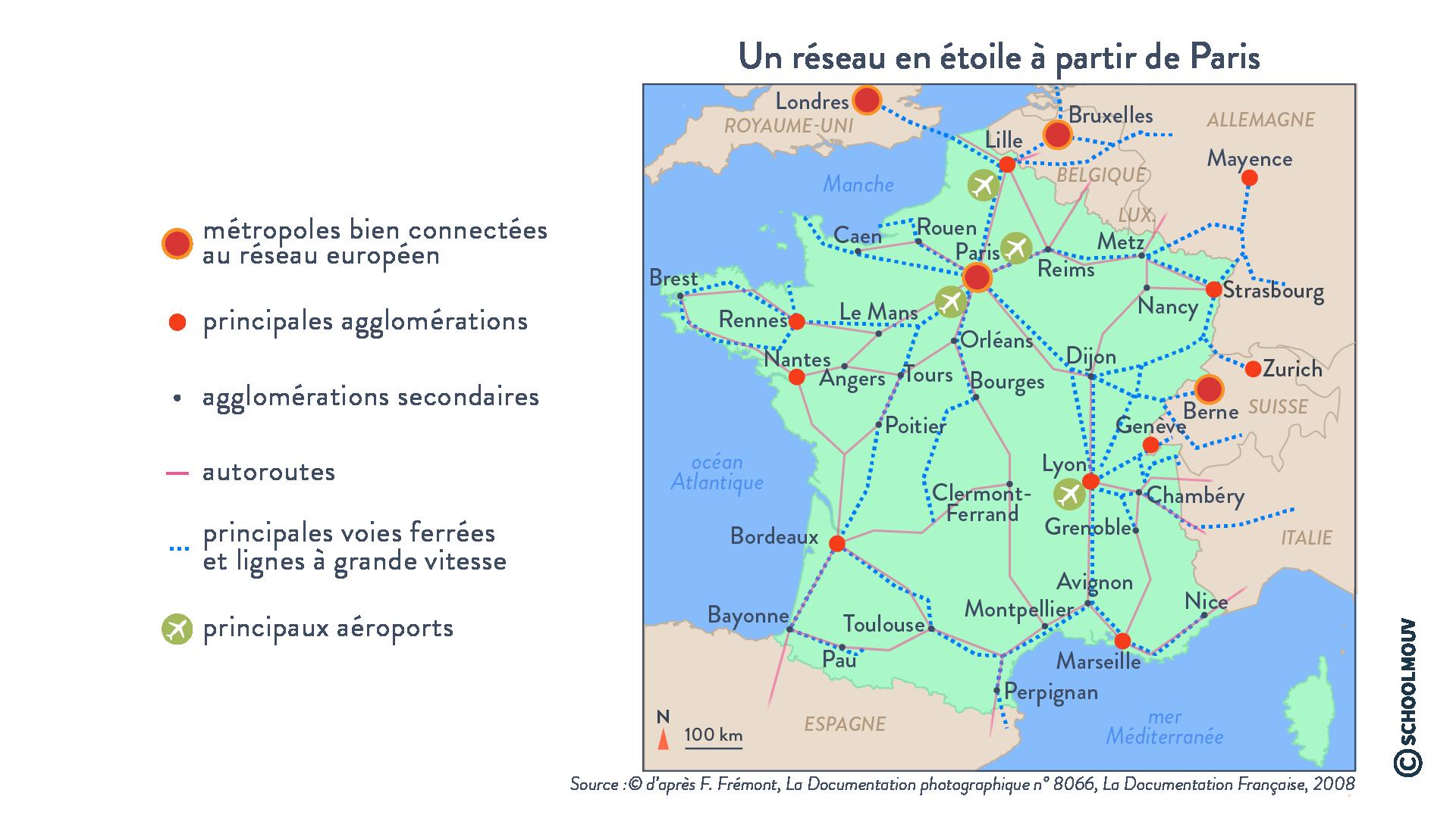 Un réseau en étoile à partir de Paris