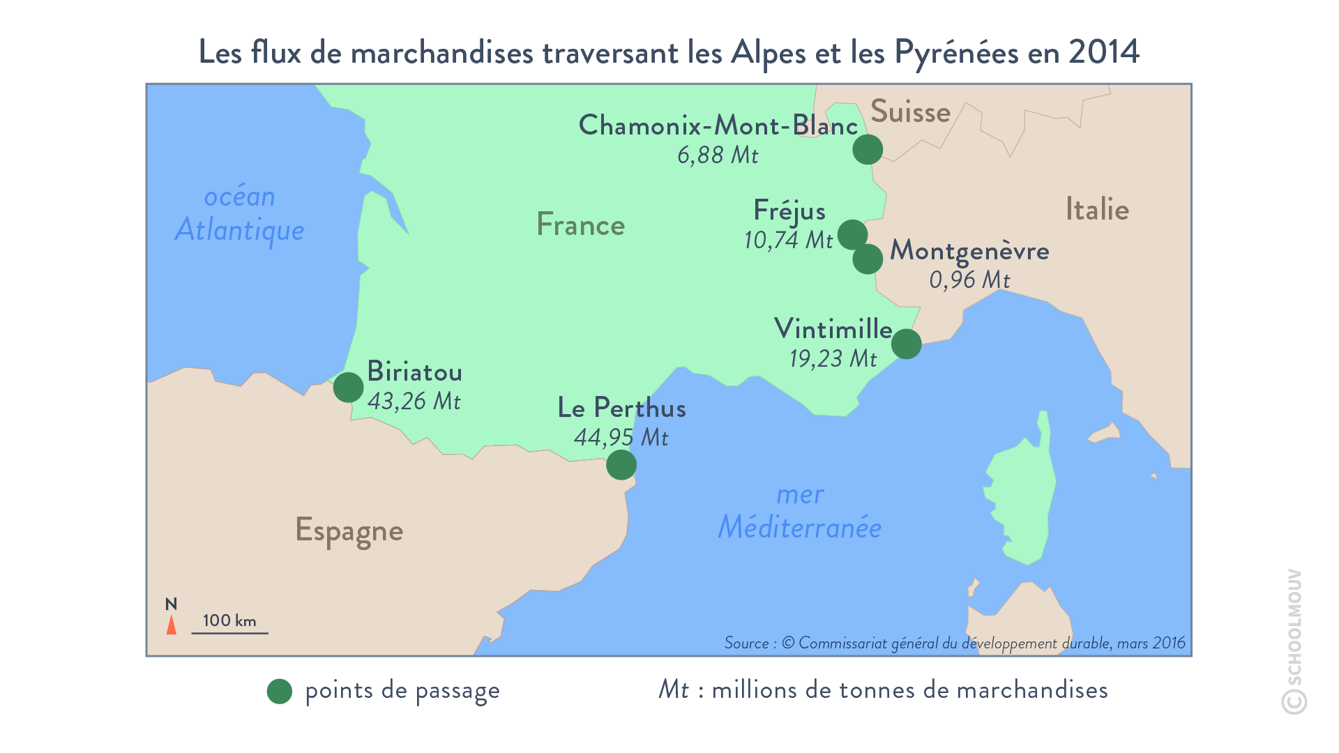 Les flux de marchandises traversant les Alpes et les Pyrénées en 2014 - Géographie - Terminale - SchoolMouv