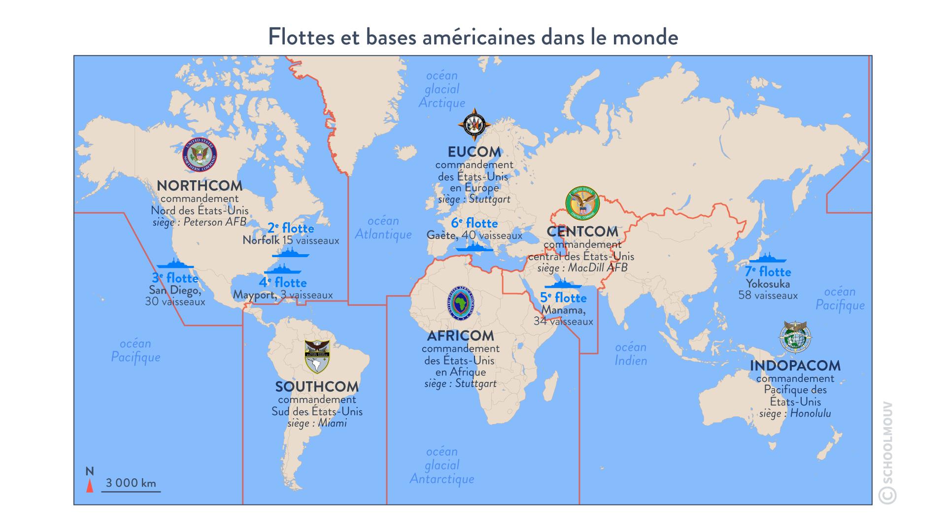 Flottes et bases américaines dans le monde northcom eucom centcom southcom africom indopacom puissance maritime hggsp histoire géographie géopolitique et sciences politique spécialité terminale