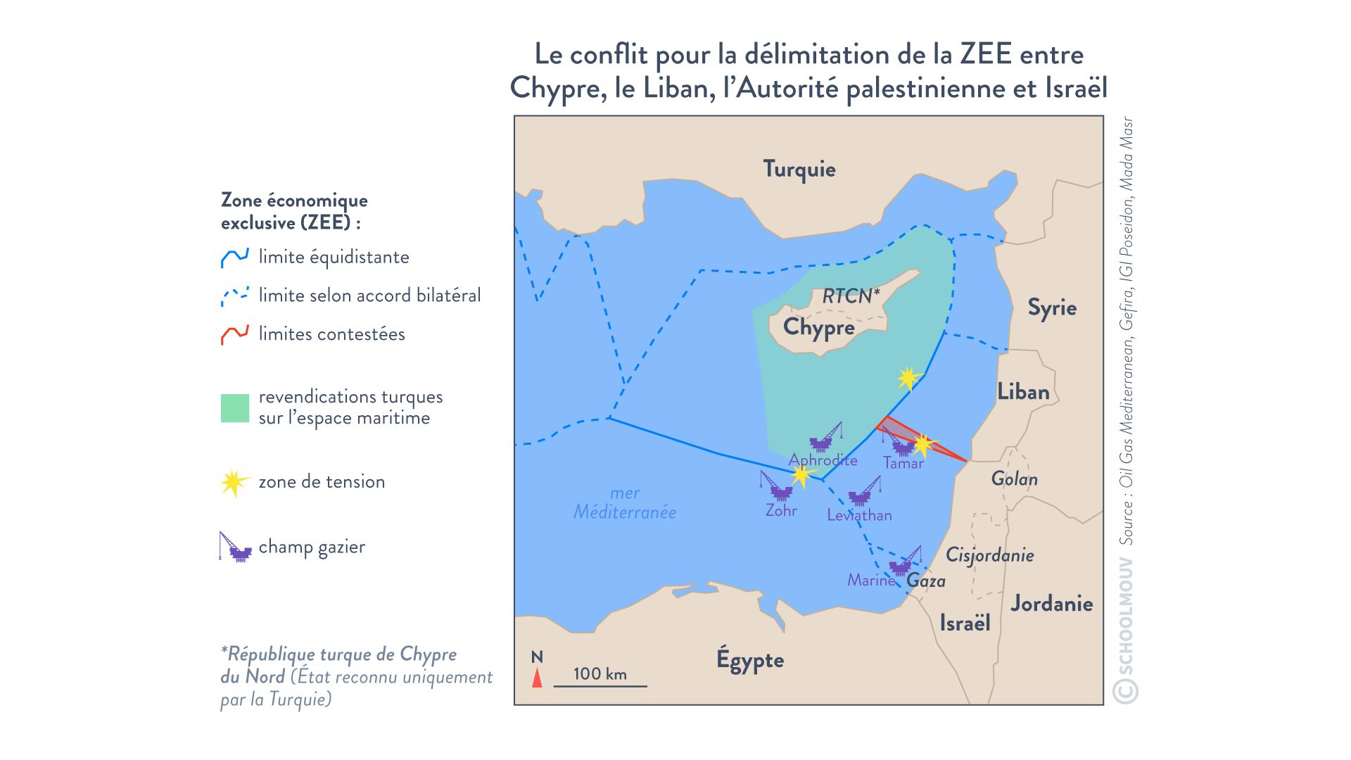 Le conflit pour la délimitation de la ZEE entre chypre liban autorité palestinienne israel méditerranée gisements hydrocarbure hggsp histoire géographie géopolitique et sciences politique spécialité terminale