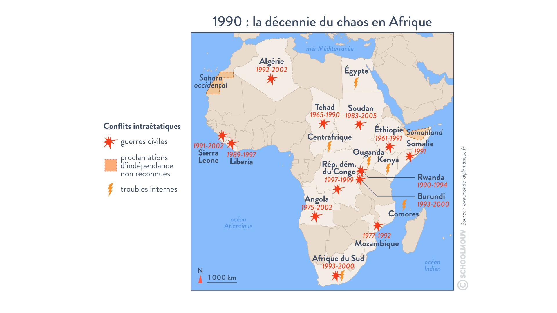 1990 décennie du chaos en Afrique conflits intraétatiques guerres civiles troubles internes terminale histoire géographie géopolitique et sciences politiques