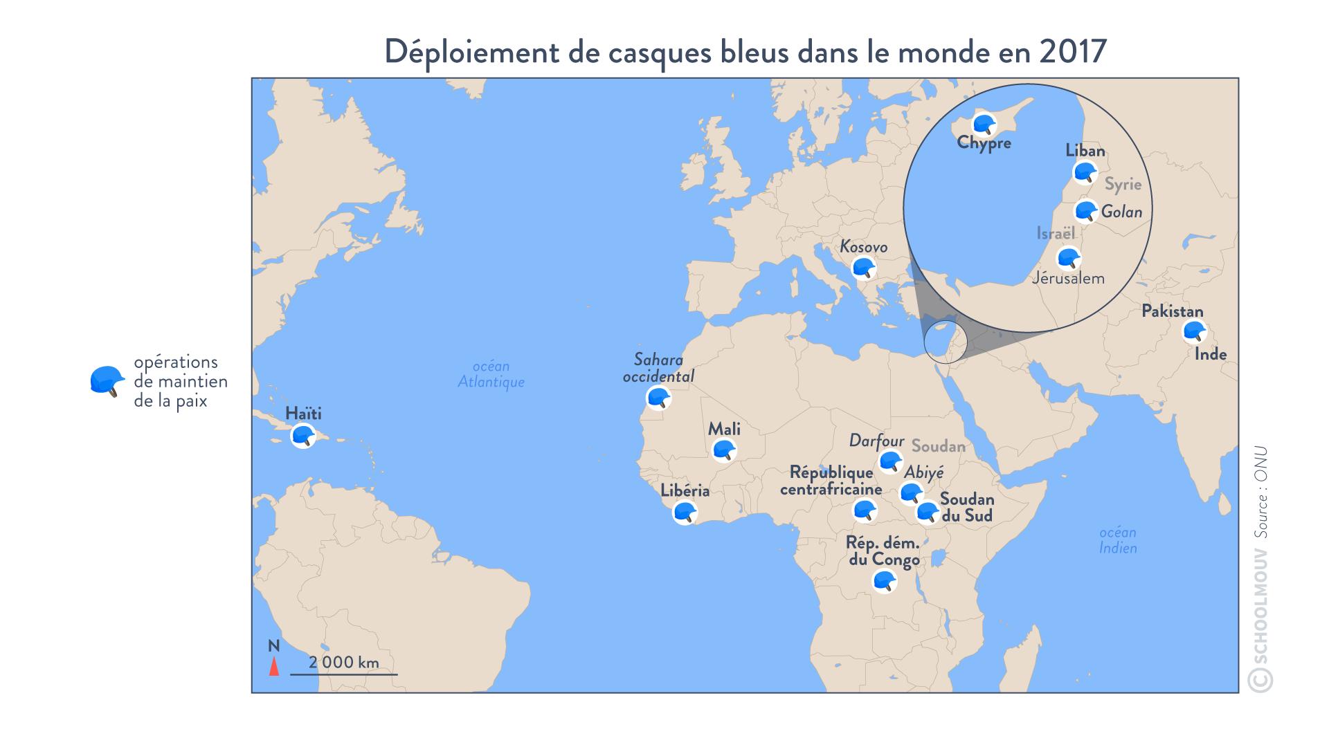 Déploiement des casques bleus dans le monde en2017 faire la guerre faire la paix histoire géographie géopolitique et sciences politiques terminale
