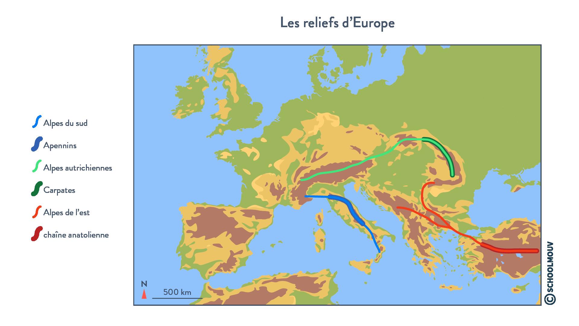 Les reliefs d'Europe